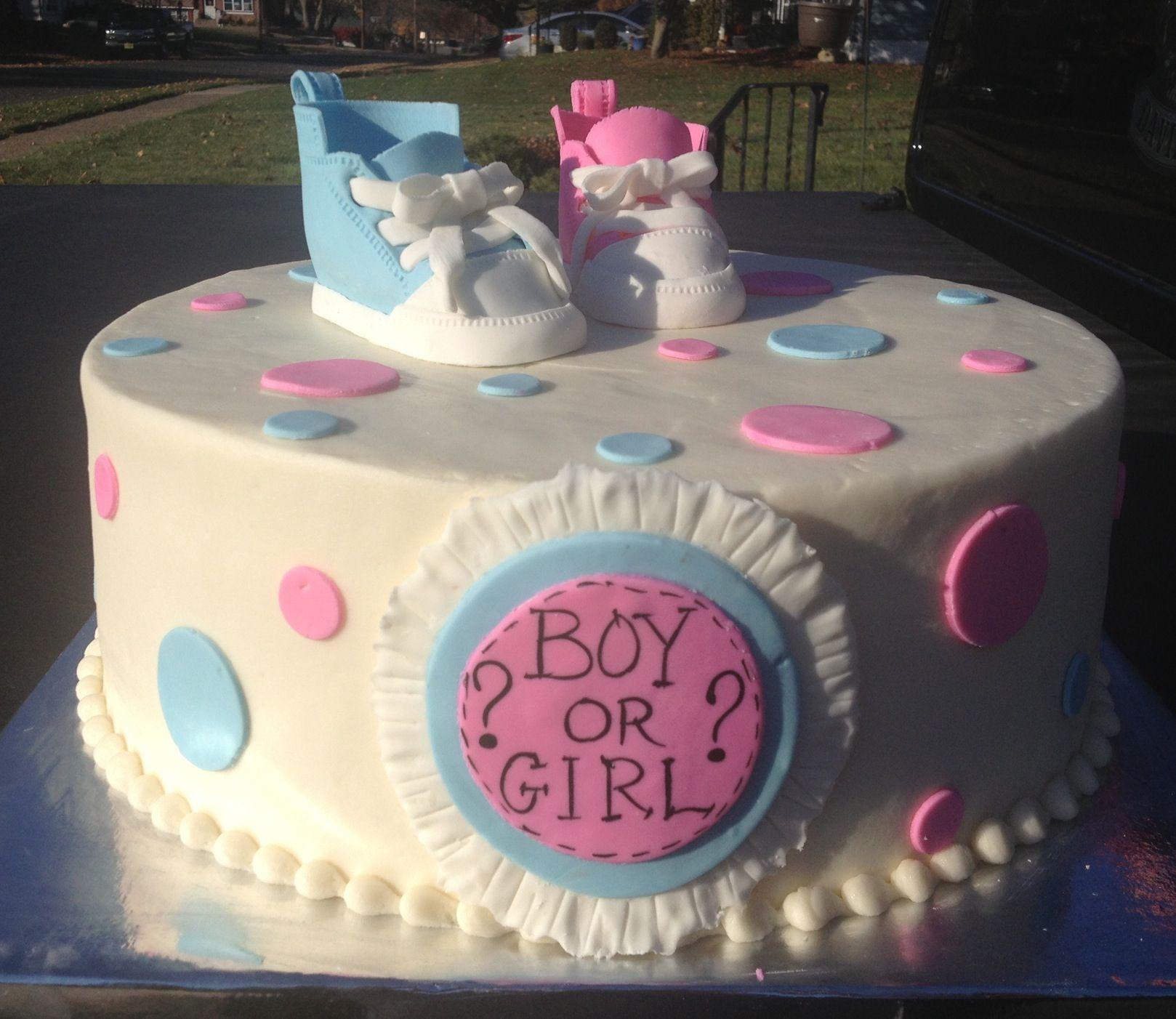 Baby reveal cake Baby converse cake