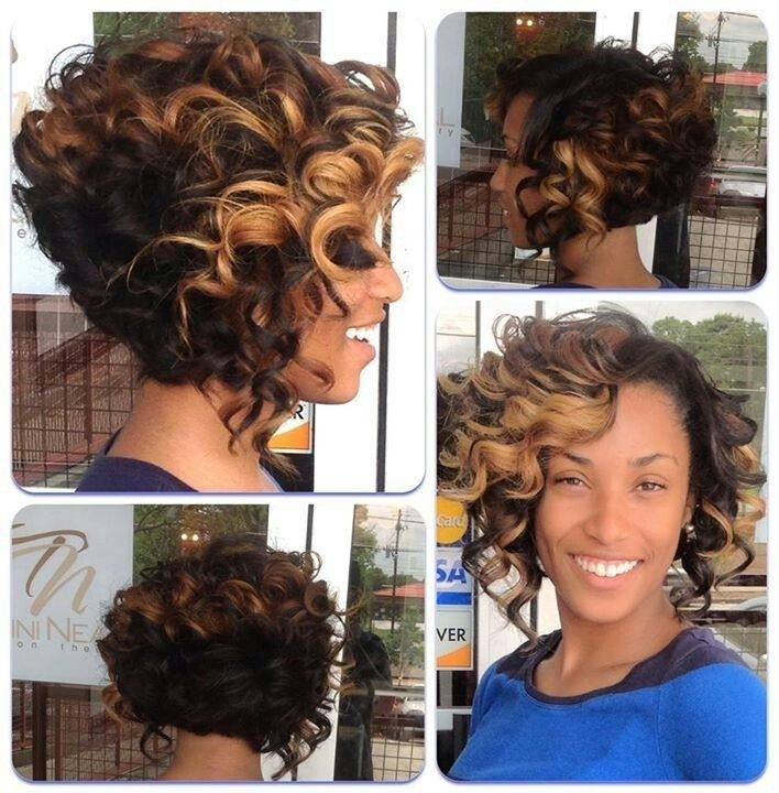 Short Ombre Curly Hairstyle For Black Women Hairstyles Weekly Short Hair Styles Hair Styles Curly Hair Styles