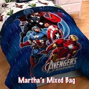 Marvel Avengers Boys Comics Superheroes Full Size Blue Bedding Comforter SET | eBay