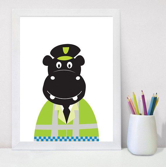 Nursery Prints, Kids Playroom Decor, Printable Wall Art, Hippo, Wall ...