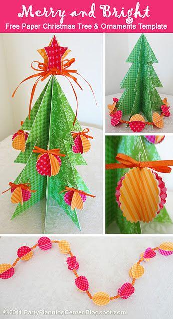 Free Printable Template To Make A Christmas Tree Ornaments And A Garland Christmas Paper Diy Paper Christmas Tree Paper Christmas Tree