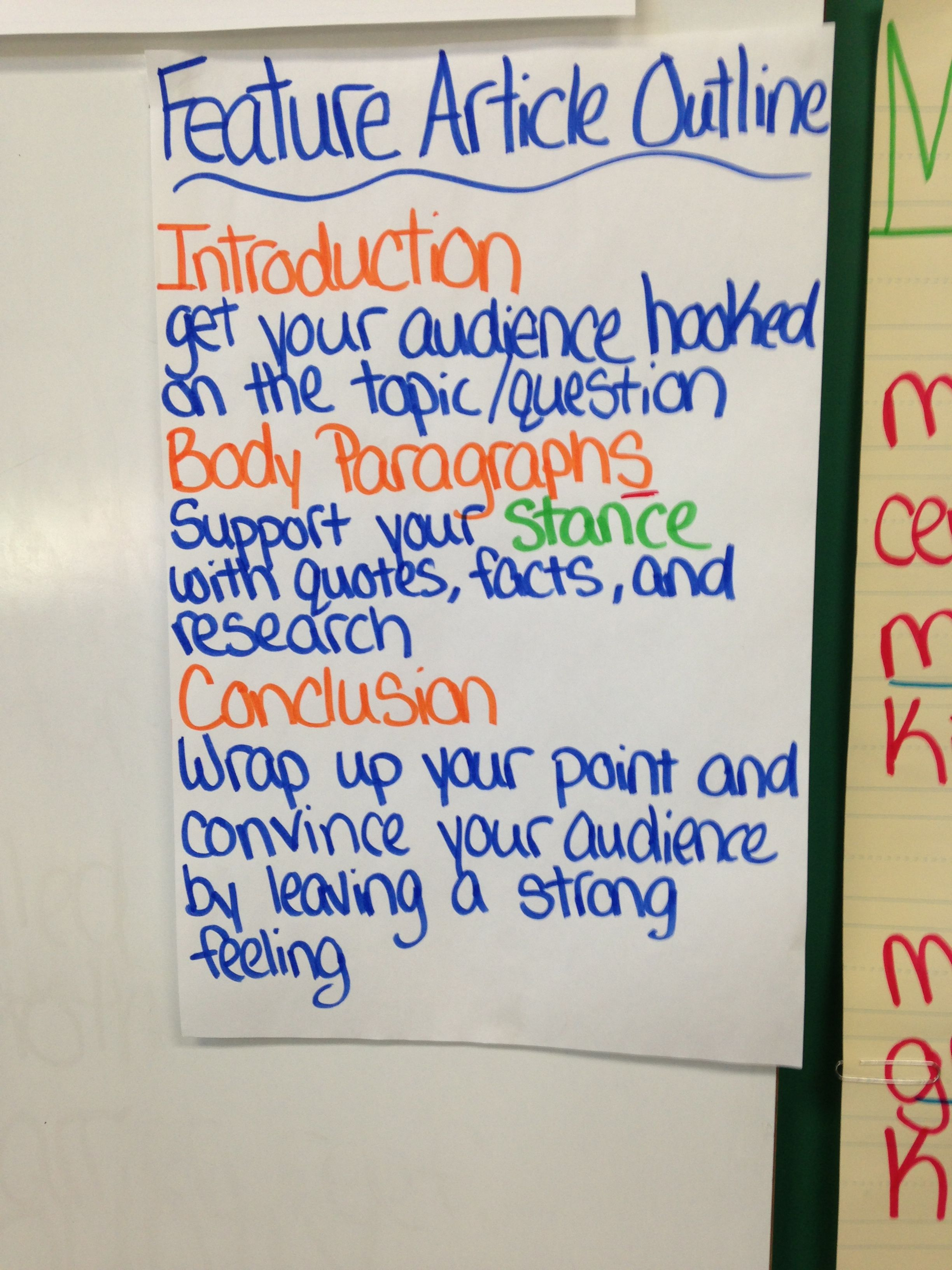 Feature Article Outline  Anchor Charts Third Grade