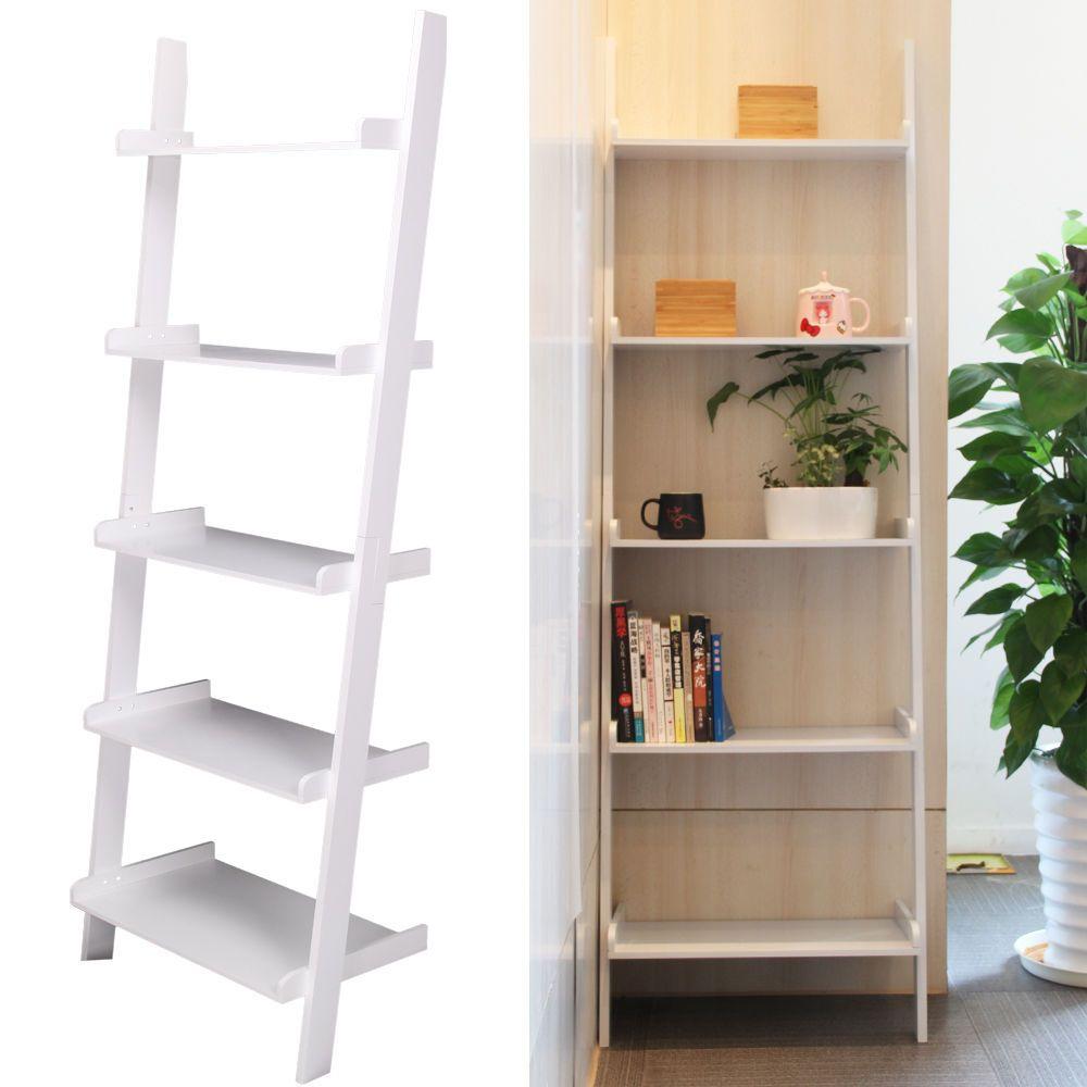 tier white ladder wall shelf home storagedisplay unit bookcase