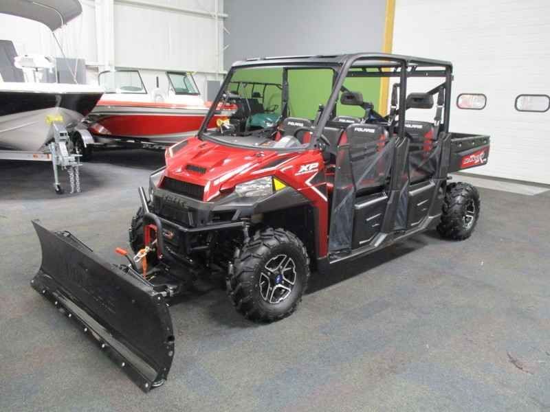 Used 2016 Polaris RANGER Crew XP 900-6 EPS Sunset Red ATVs For Sale in Michigan. 2016 Polaris RANGER Crew XP 900-6 EPS Sunset Red, SUPER CLEAN 2016 POLARIS RANGER CREW 900 XP WITH ONLY 181 MILES AND PLOW AND WINCH INCLUDED!  Features include: 4500 lb Polaris winch w/synthetic rope and wired remote, 72 Polaris Glacier Pro plow, 6-person capacity, 875 cc liquid cooled 4-stroke EFI engine, automatic transmission with high & low range, on-demand true 4-wheel shaft drive, Electronic Power…