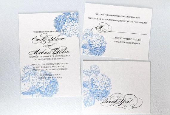 Printable Botanical Wedding Invitation Blue Hydrangea 3