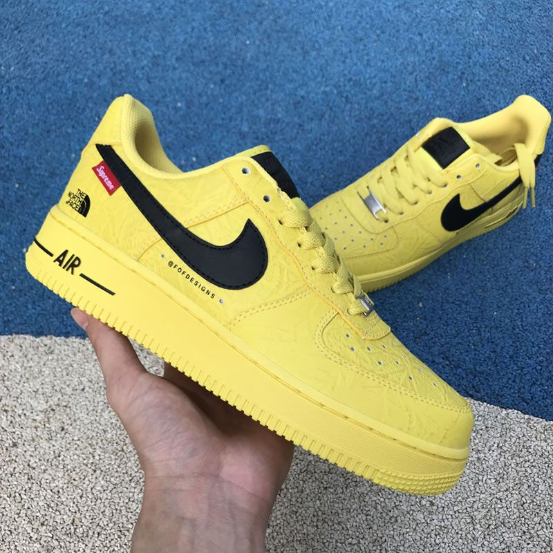 03b3e2af44c Supreme The North Face Nike Air Force 1 Sup AF1 Low Yellow Black AR3066-400