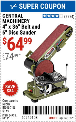 Central Machinery 4 In X 36 In Belt 6 In Disc Sander For 64 99 In 2020 Harbor Freight Tools Harbor Freight Coupon Ryobi
