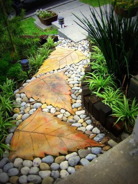concrete leaves pathway landscaping garden walkway on extraordinary garden path and walkway design ideas and remodel two main keys id=65032