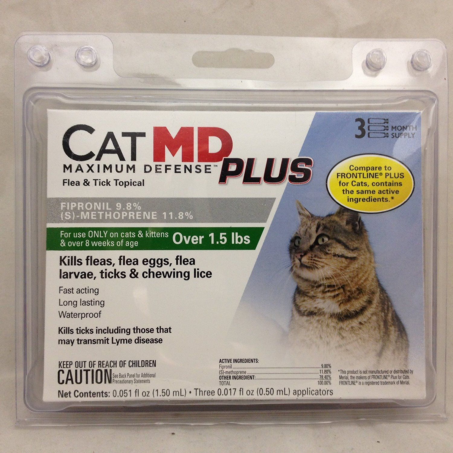 Catmd Maximum Defense Plus Flea And Tick Topical For Cats Over 1 5 Lbs 3 Month Supply Find Out More About The Grea Flea And Tick Frontline For Cats Fleas