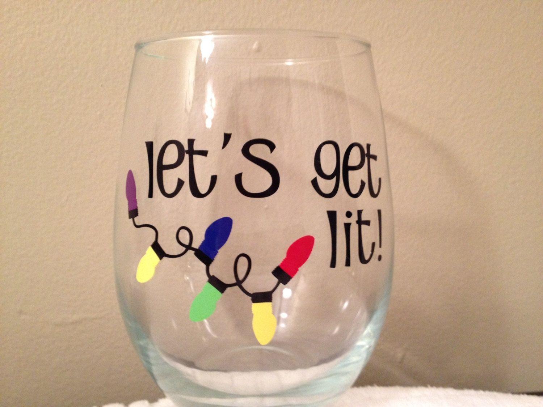 Lets Get Lit Christmas Stemless Wine Glass Party by JSMDesignz