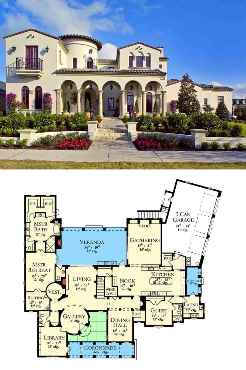 6 Bedroom Two Story Spanish Villa With Studio Floor Plan Spanish Villa Spanish House Plans Spanish Style House