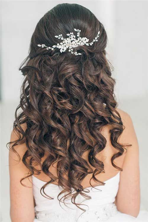 Curly Hair Down Prom Hairstyle Back