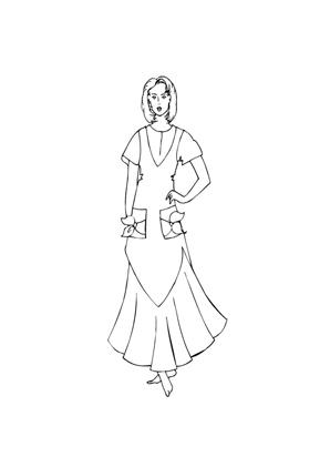 ausmalbild model mit elegantem kleid zum ausmalen. ausmalbilder | malvorlagen | models |
