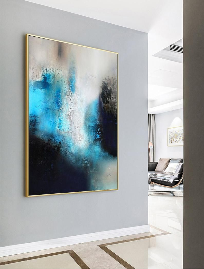 Blue Painting Black Painting White Abstract Etsy In 2020 Blue Painting Abstract Canvas Painting Blue Abstract Painting