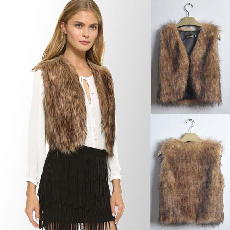 US Womens Faux Fur Waistcoat Gilet Jacket Coat Sleeveless Outwear Vest Plus Size