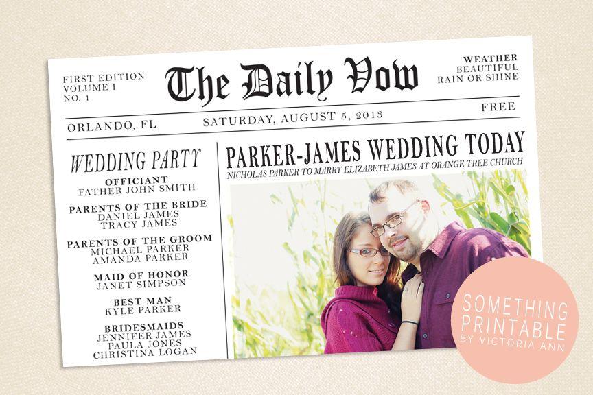 Something Printable by Victoria Ann: Printable Newspaper Wedding ...