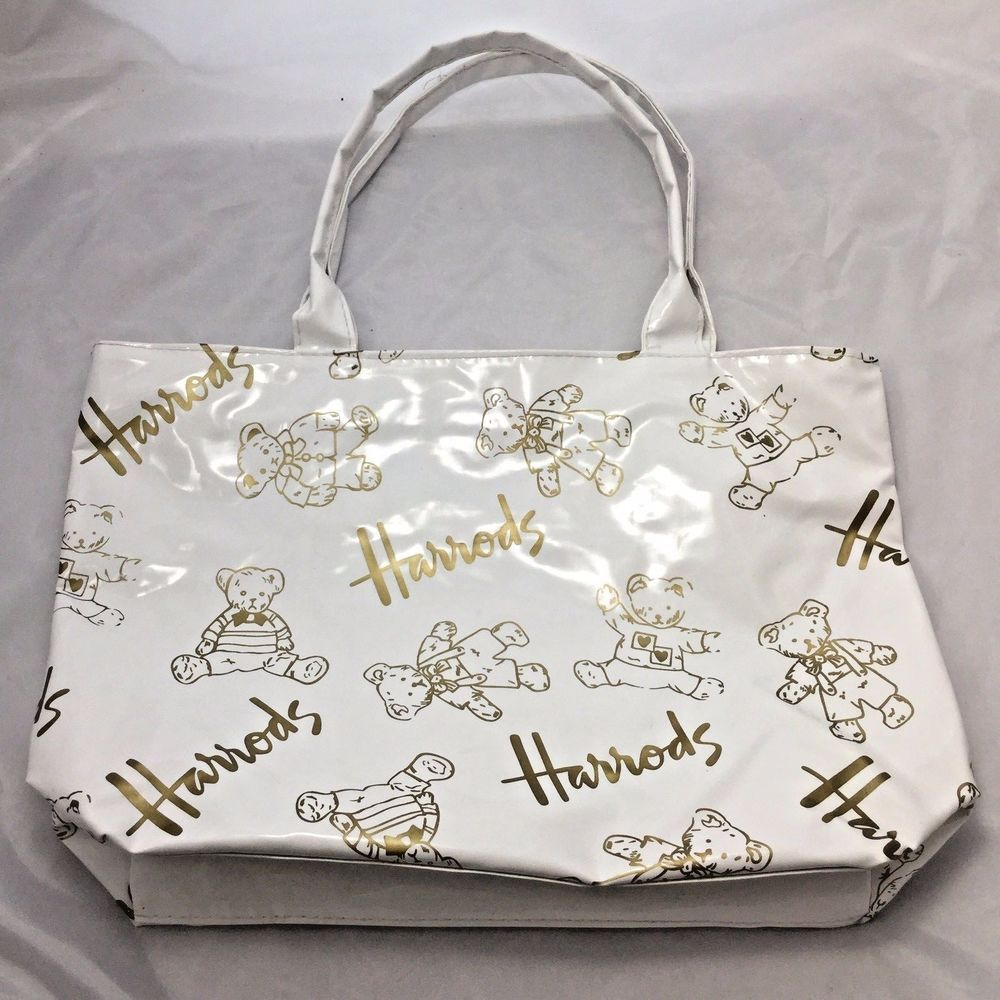 Harrods Uk White Vinyl Gold Teddy Bears Ping Bag Tote Purse Totespers