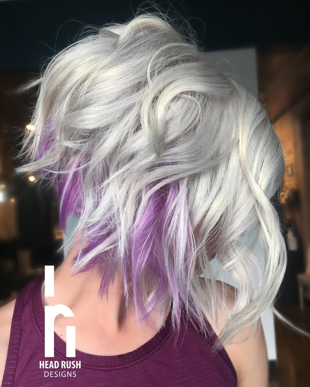 Platinum Blonde Bob With Pops Of Purple Hair Styles Purple