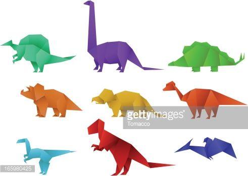 Photo of Satz von neun Farbpapier Origami Dinosaurier Sammlung Vektor …