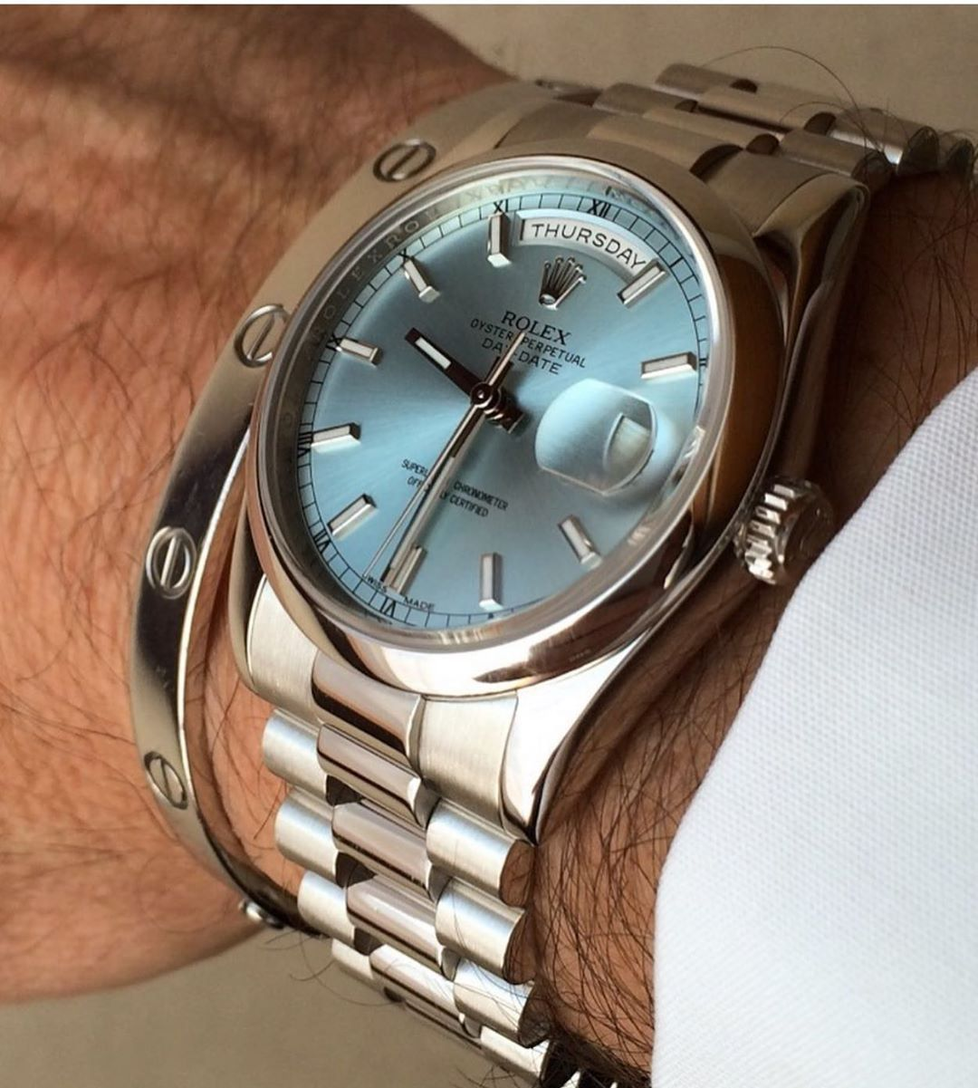Daily Watch Posts On Instagram My Favourite Daydate The Platinum 118206 With Ice Blue Dial In 2020 Vintage Watches For Men Rolex Luxury Watches For Men