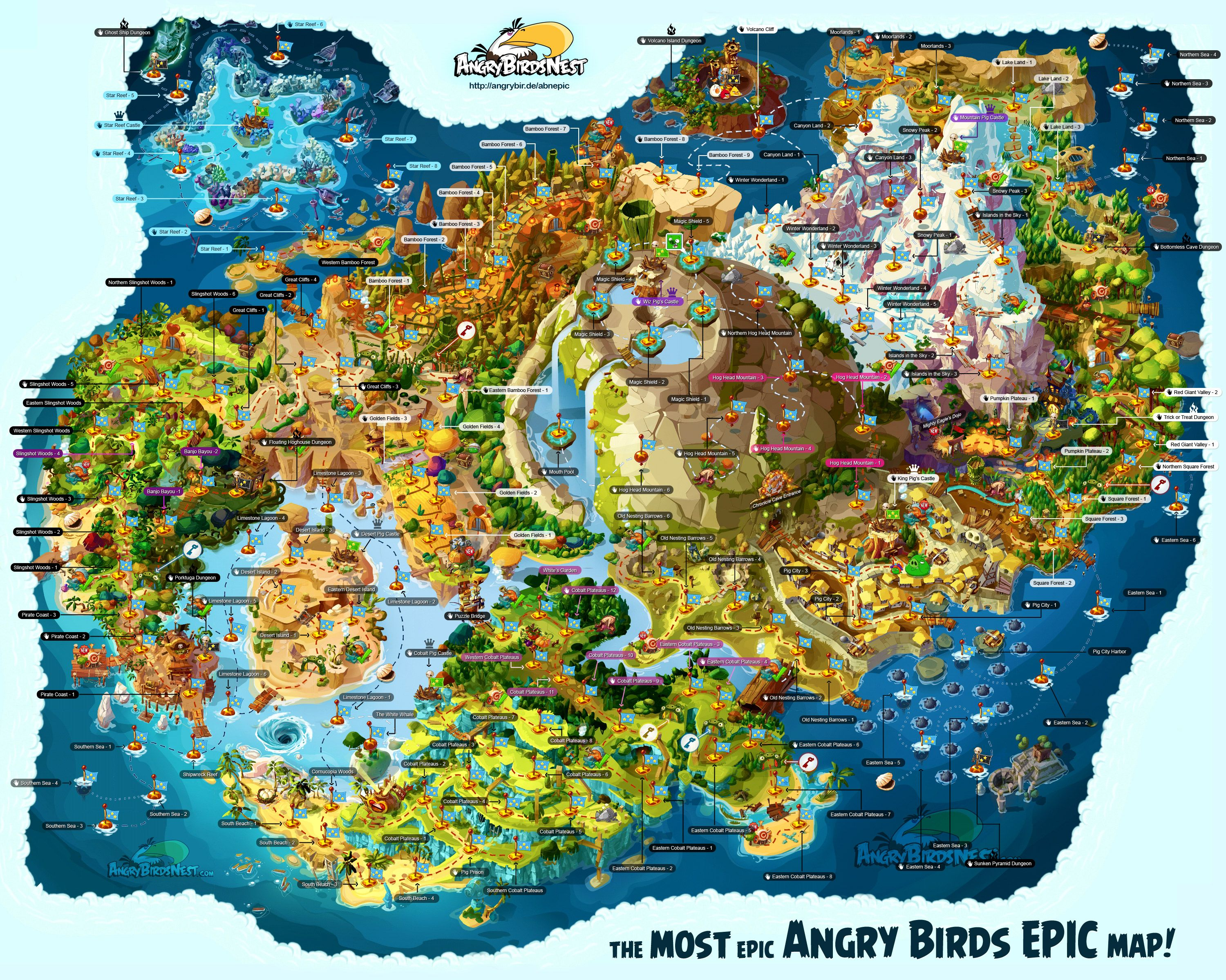 Mad World Map%0A Fully labeled Angry Birds Epic map showing all of Piggy Island