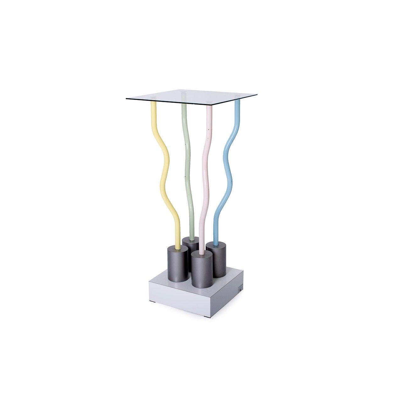 Tavolino console Le Strutture Tremano designer Ettore Sottsass produttore Belux paese Svizzera 1979 colore fantasia in metallo e vetro