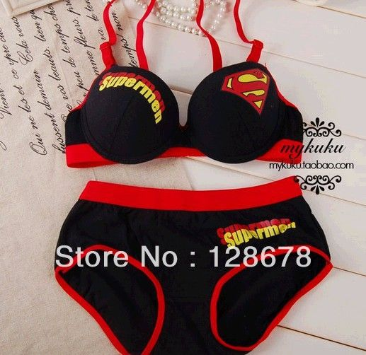cfd4151e81 new 2013 Free shipping Superman super man . 100% cotton push up bra  underwear set s comfortable bra-in Bra Brief Sets from Apparel Acces.