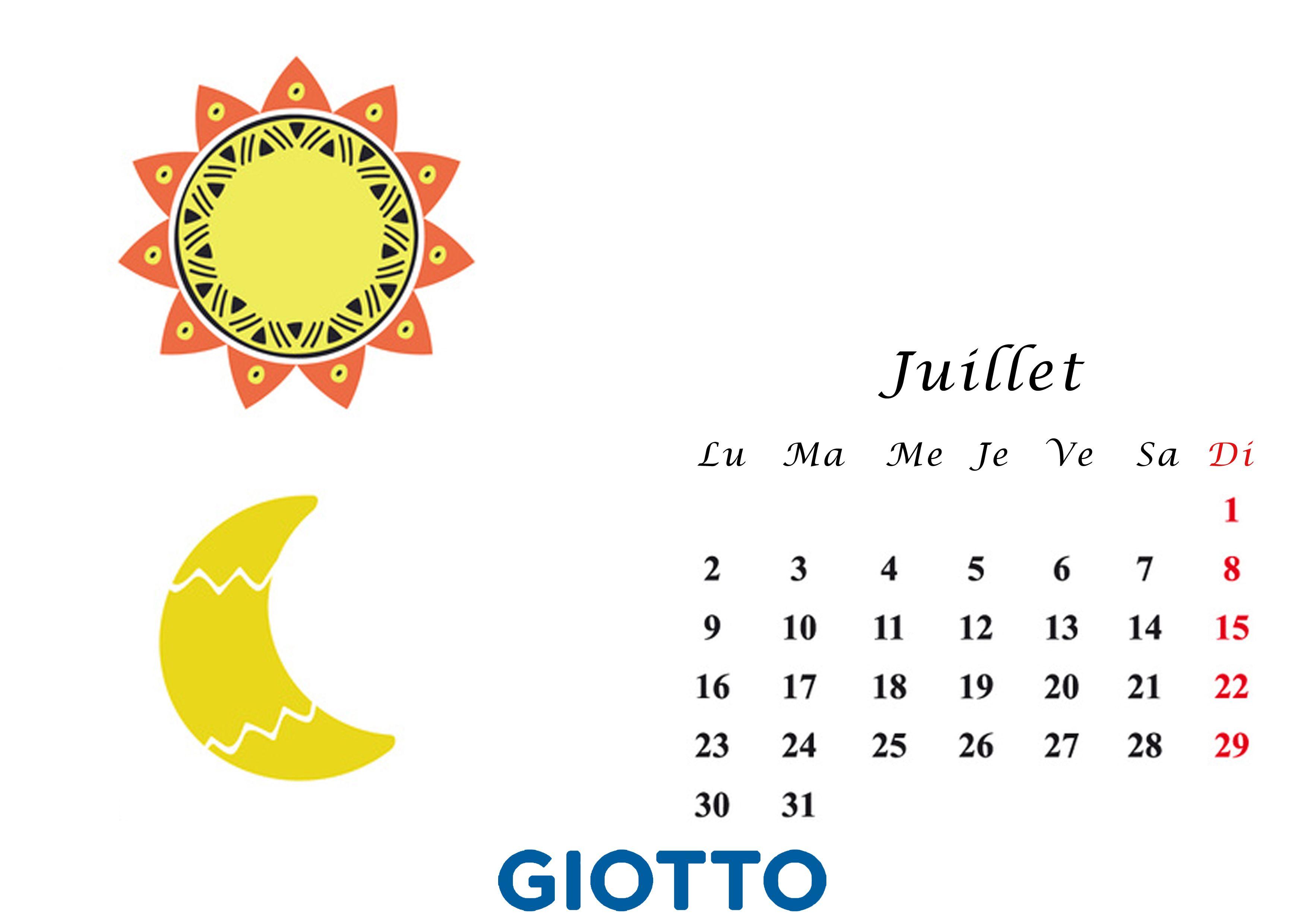 Calendrier Soleil.Printable Le Calendrier Creatif De Juillet Lune Vs Soleil
