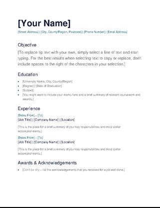 Cv Template Basic Resume Examples Simple Cv Cv Template Simple Cv Template