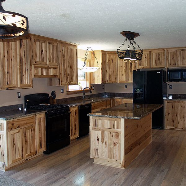 Rustic Hickory Cabinets | Hickory kitchen cabinets, Rustic ...