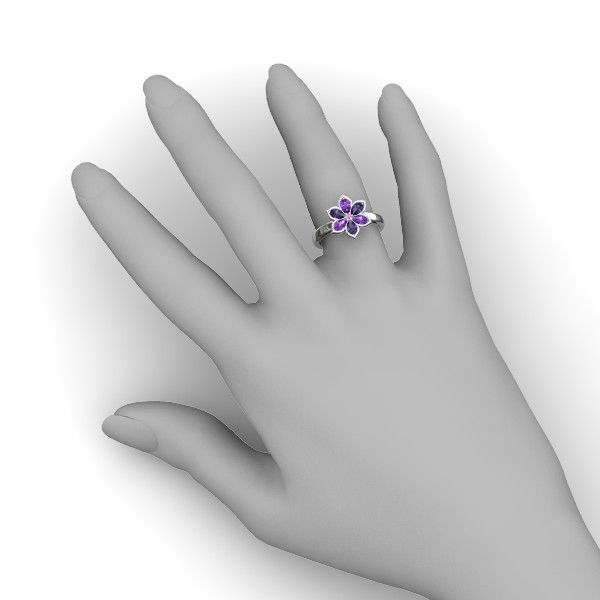 """Enchanting Flower Ring (with pink sapphire center stone, Iolite accent stone 1, amethyst accent stone 2, sterling silver primary metal) (Gemvara) (""""Six gemstone petals surround a round-cut stone in this stylish flower ring, carefully handcrafted in your choice of gems and metals."""")"""
