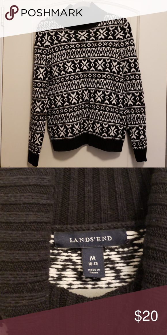 84cc45074c Land s End cable knit sweater Lands End cable knit sweater and a black and  white winter