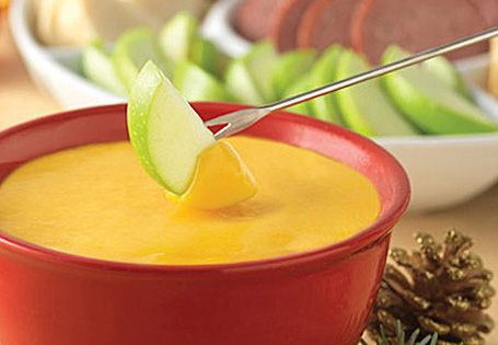 Cheese fondue; uses Cheddar and Colby Jack cheeses   Fondue   Pinterest