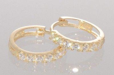 12mm x 12mm 14k Yellow Gold Cubic Zirconia Huggies Earrings,