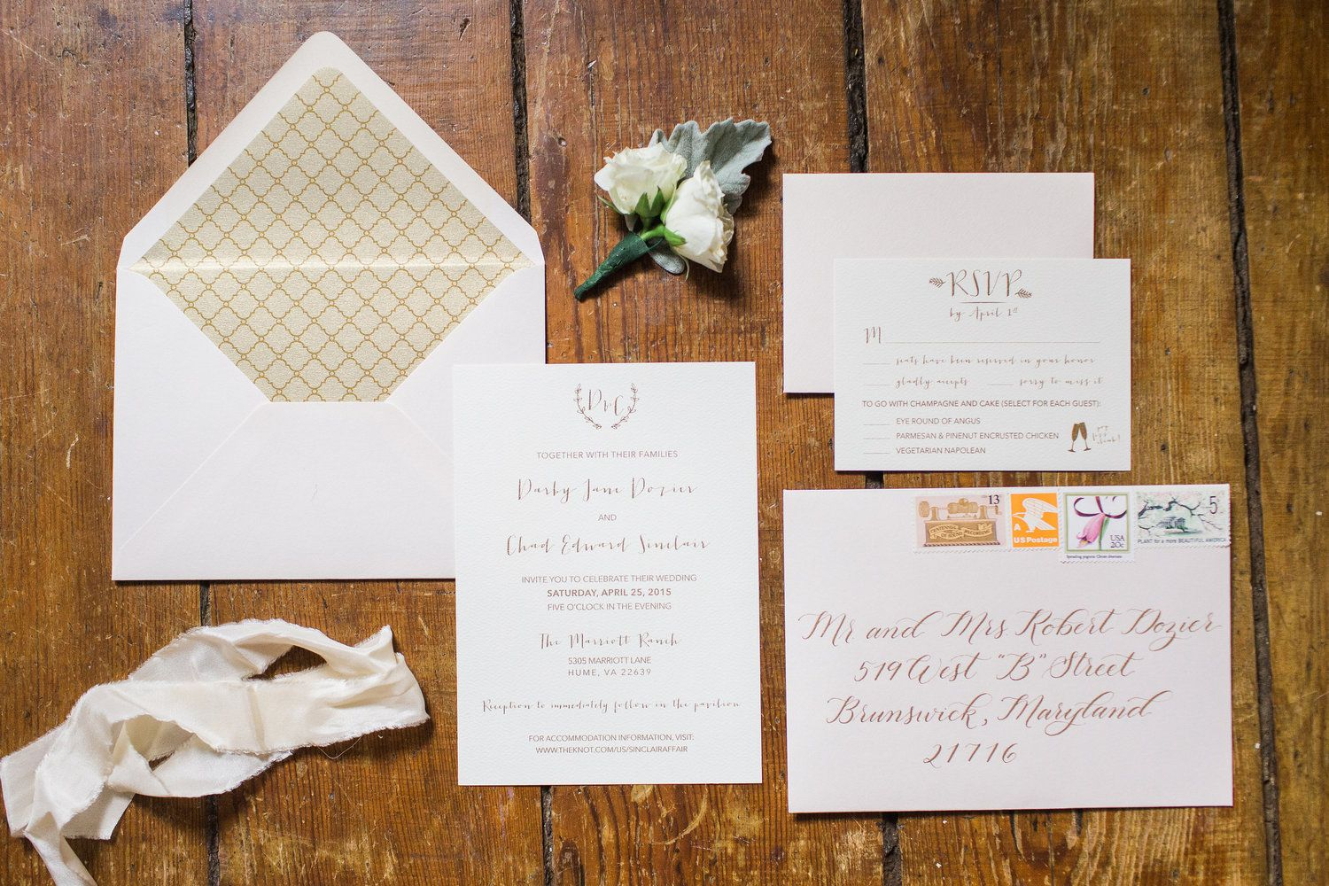 Darby + Chad // Blush and Gold Wedding Invitation suite  Stationery: Shannon Joy Paperie Calligraphy: Sincerely Amy Designs