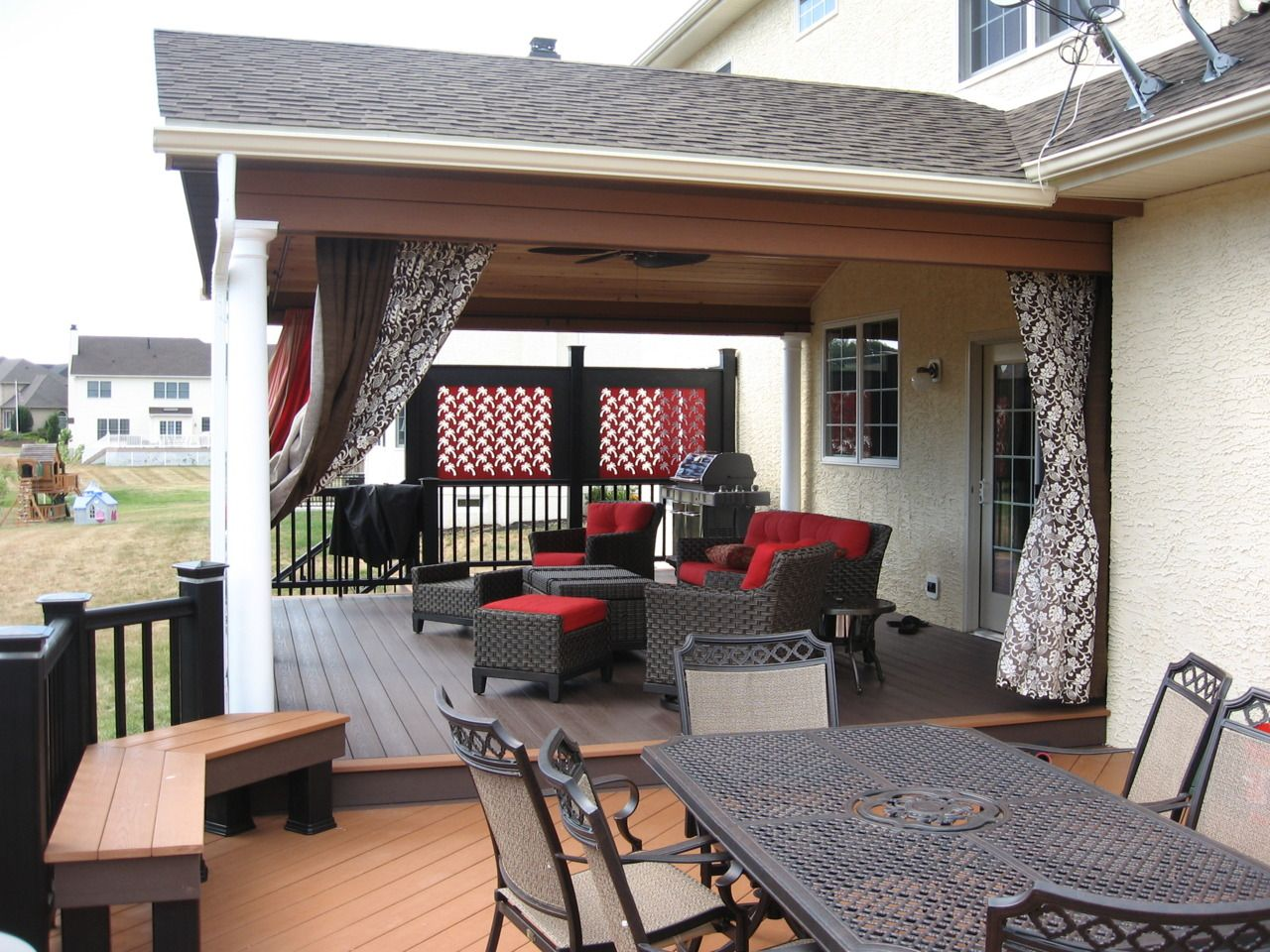If you really want to create an outdoor extension of your house, include a covered area in your deck design.   It creates a cozier atmosphere at night as well as more usable space during a rainy day.  If you want to entertain the option of installing a roof or independent canopy on your deck, visit www.centralpadeckdesign.com. Deck Photo is Courtesy of Keystone Custom Decks