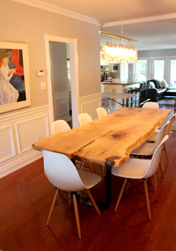 Live Edge Salvaged Maple Dining Table Custom Stainless Steel Base
