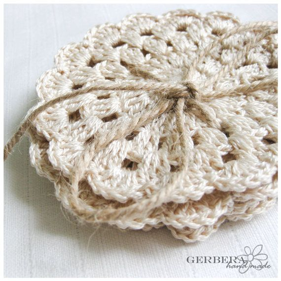 Vintage Crochet Coasters/Doilies of Natural by GerberaHandmade, $18.00