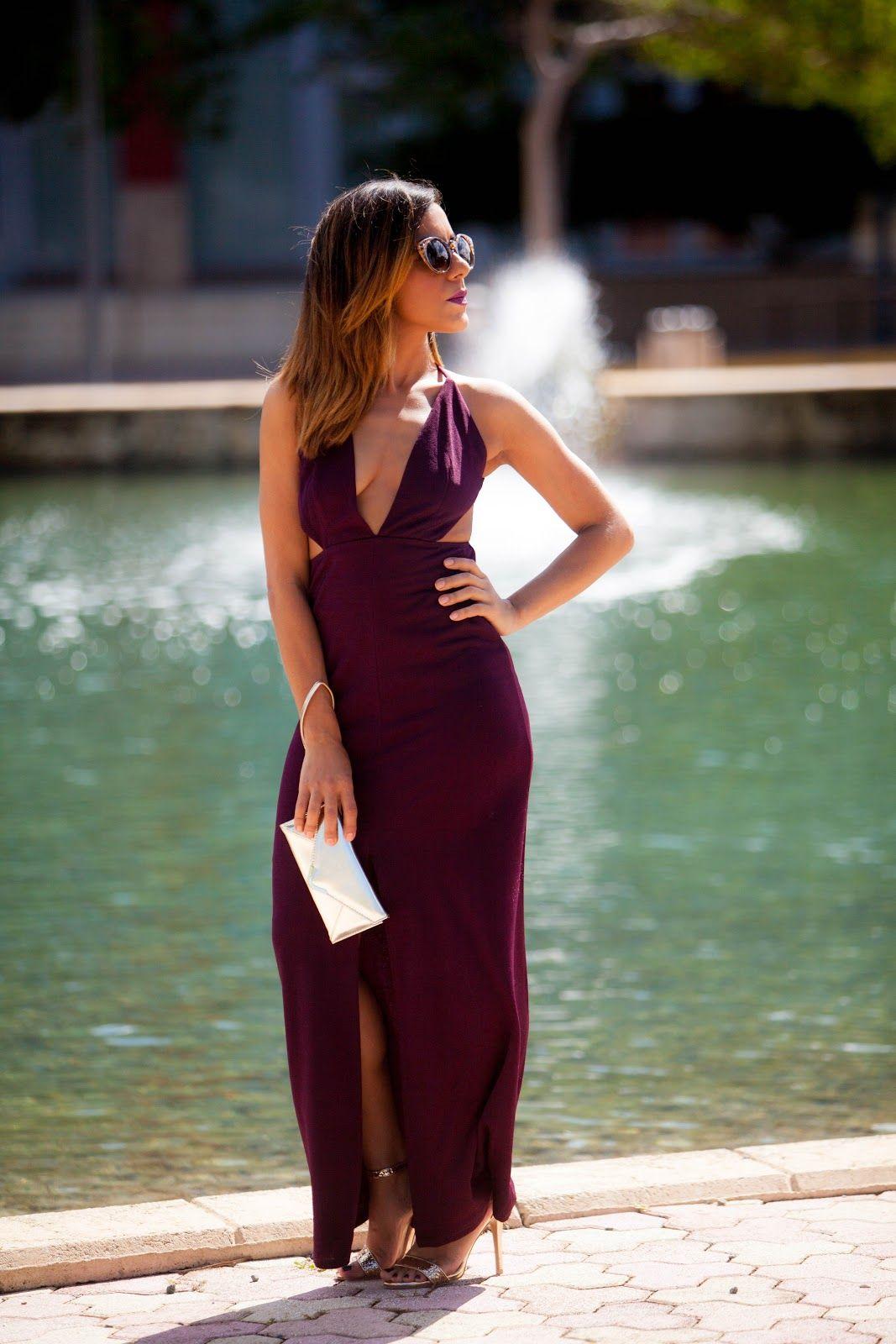Long Burgundy Dress with deep V neck