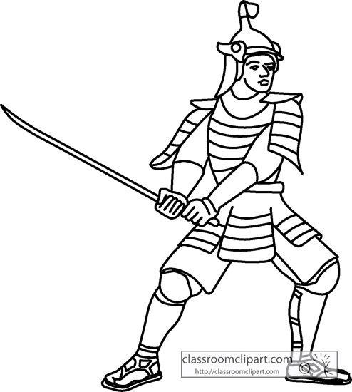 History Japanese Samurai Outline Classroom Clipart Samurai Clip Art Black And White
