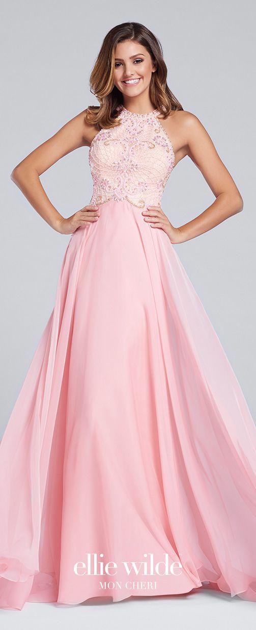 Navy Blue Halter Two-tone Chiffon Full A-line Prom Dress - EW117145 ...