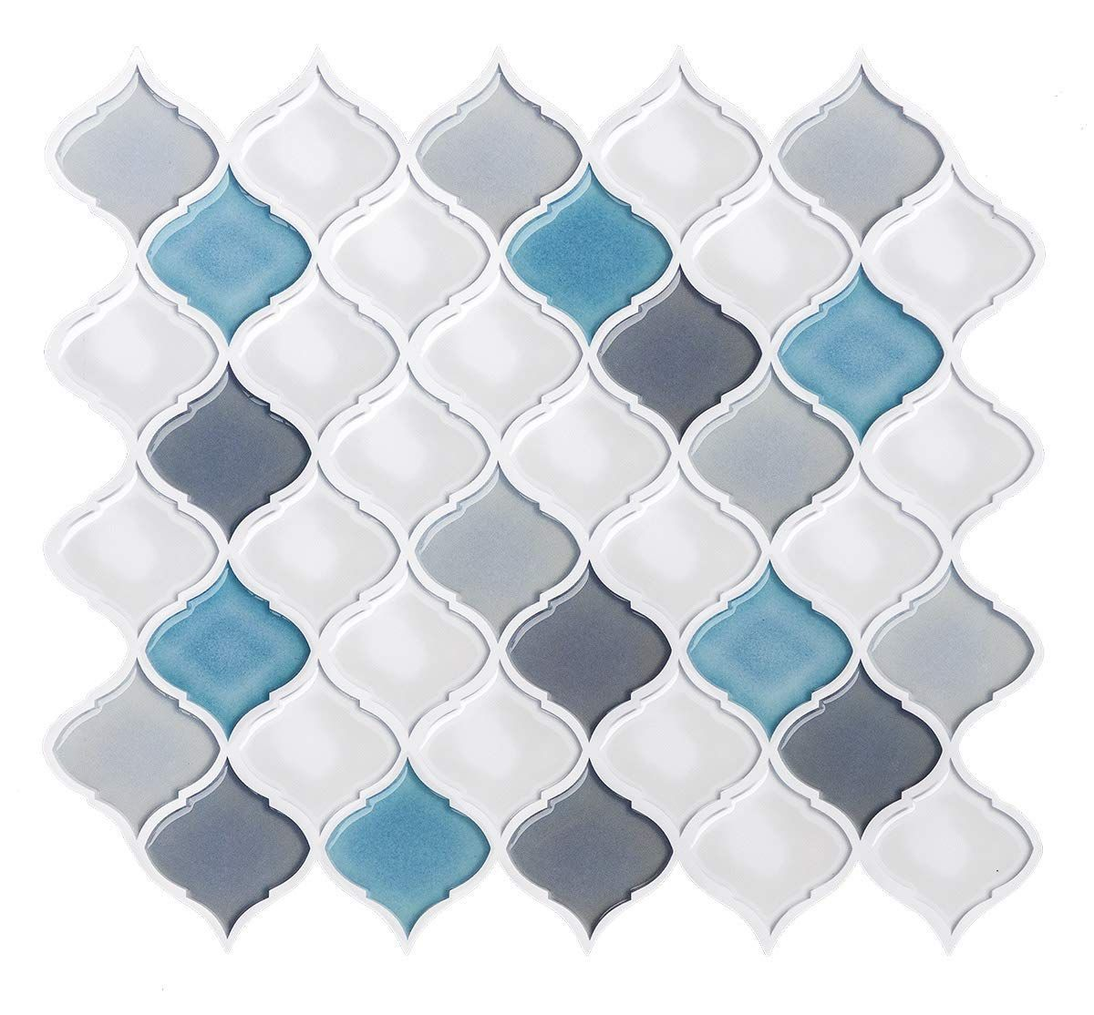 Amazon Com Peel And Stick Tile Backsplash For Kitchen Bathroom Mist White Arabesque Tile Backsp Stick Tile Backsplash Stick On Tiles Arabesque Tile Backsplash