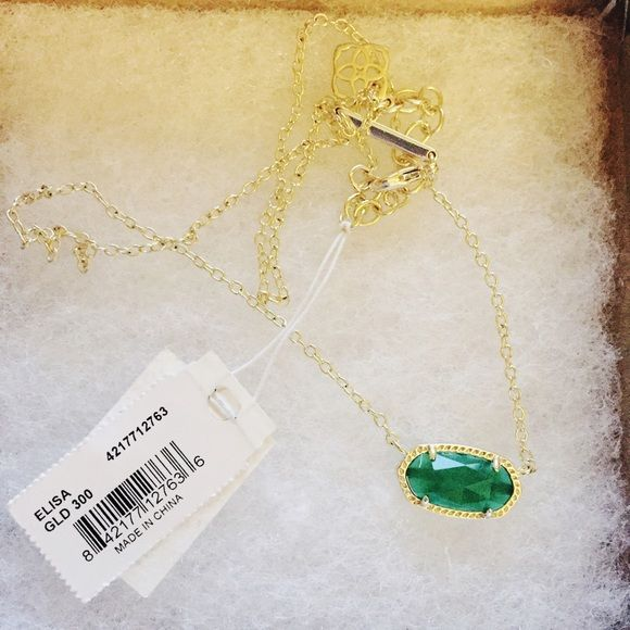 Kendra Scott 'Elisa' Necklace Green/gold. Brand new with tags. Also listed cheaper on merc :) Kendra Scott Jewelry Necklaces