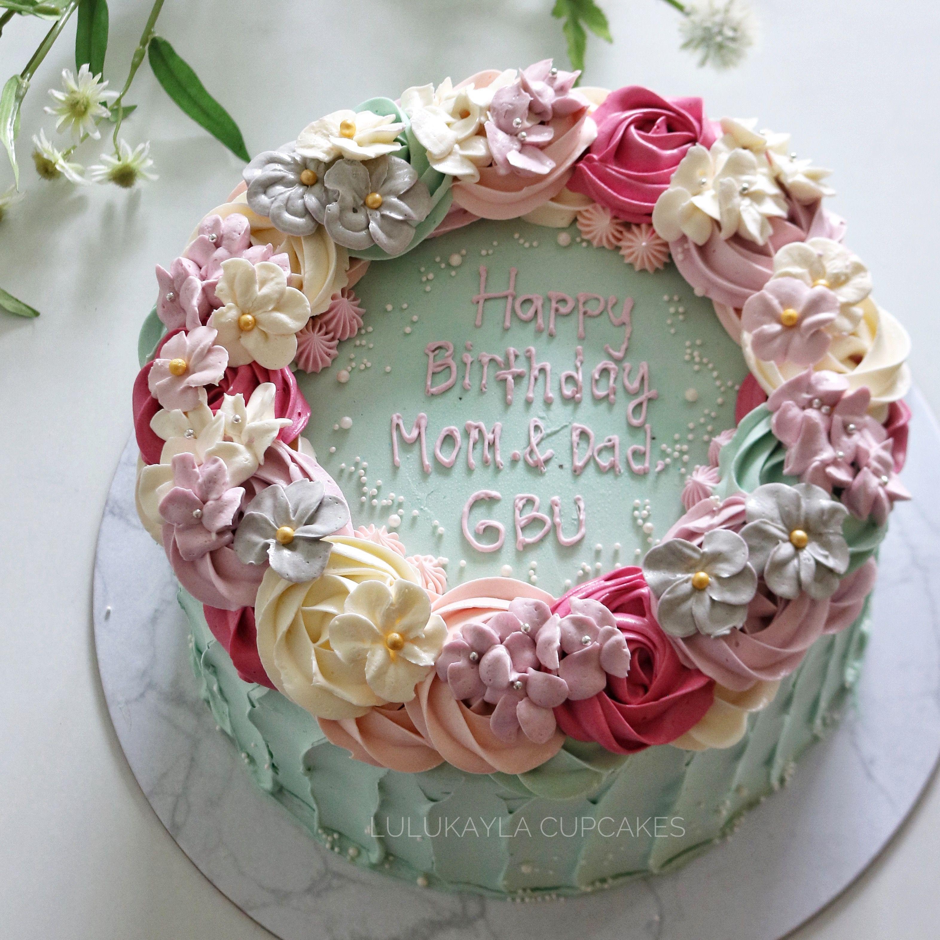 Flower Buttercream Cake Cake Decorating Designs Birthday Cake