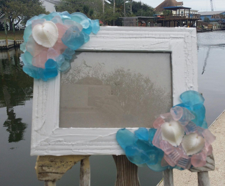 Aqua & Pink Seaglass Crackle Rustic 5x7 Frame with Natural Seashell White Cockle Hearts/ Beach Wedding/ Mermaid Inspired Home Decor/ LOVE by seashellsbyseashore on Etsy