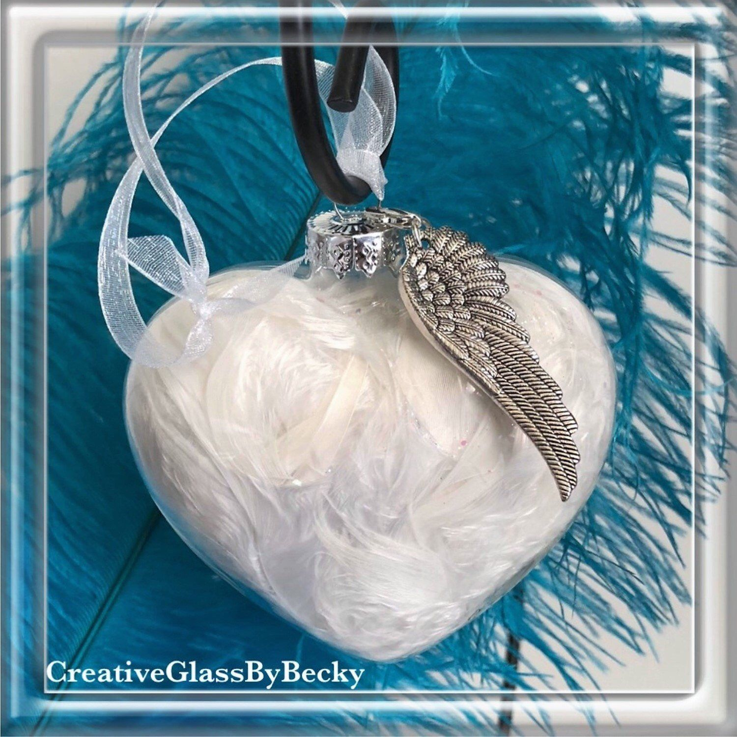 Angel Wings Memorial Ornaments Large Glass Heart Ornament Etsy Glass Heart Memorial Ornaments Art Glass Lighting