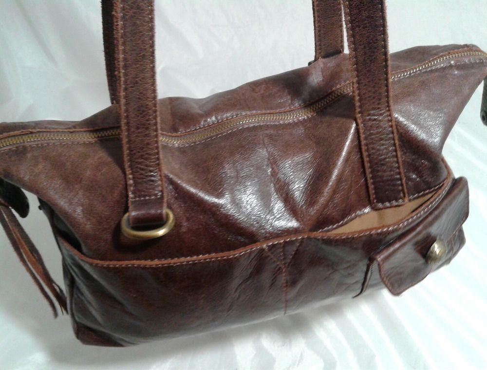 Sofia C Glazed Leather Handbag Brown Satchel Purse Retail 155