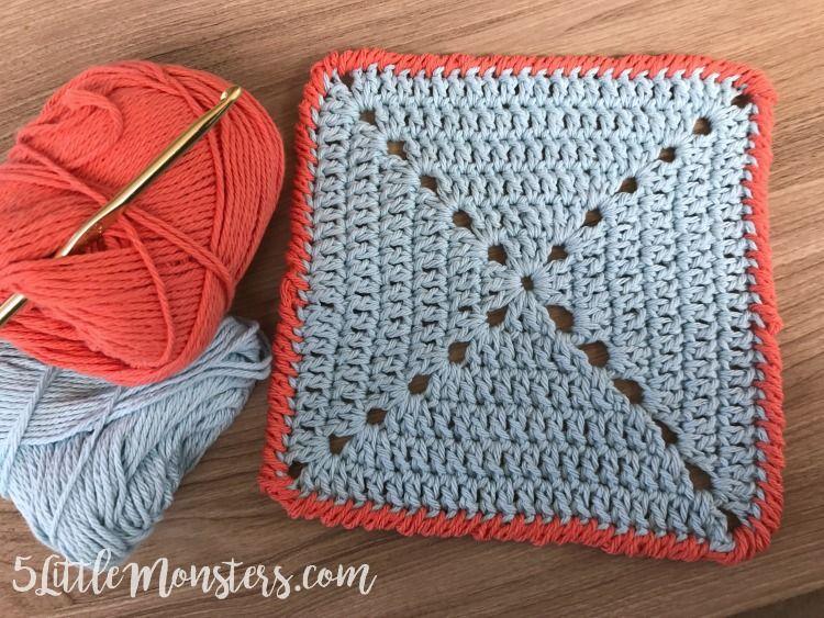 solid granny square dishcloth with crab stitch edging - Hakelmutzen Muster