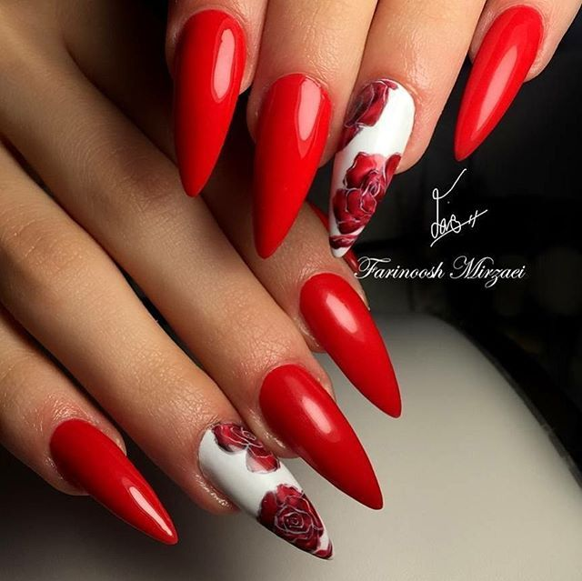 Almond nail shape with bright red nail polish and red rose nail design for  a classy look! Beautiful nails by @farinooshmirzaei.nail Ugly Duckling Nails  page ... - Almond Nail Shape With Bright Red Nail Polish And Red Rose Nail