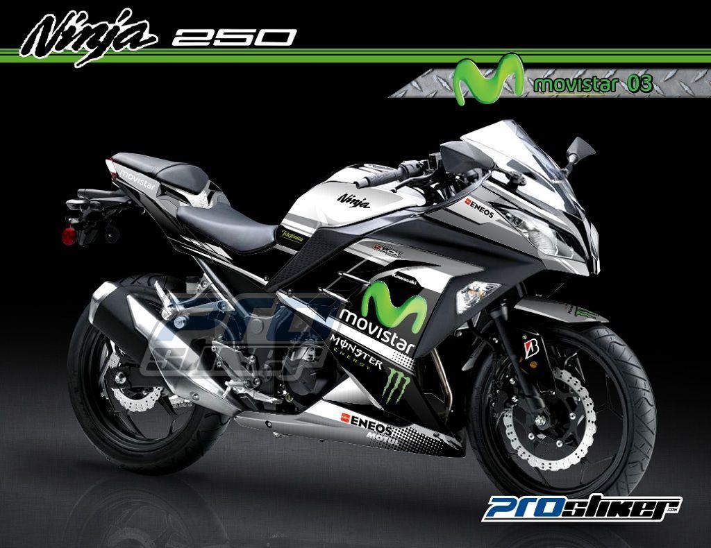 Genial Decal Striping Ninja 250 Fi Warna Hitam Modifikasi Motif Moto GP Replica  MOVISTAR Hitam